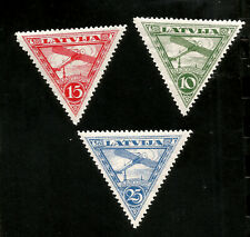 1921 Blériot XI Latvia Triangular Mint Airmail Stamps Aviation Peonneirs