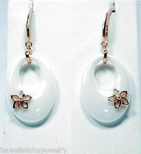 TAPERED OVAL WHITE CERAMIC ROSE GOLD OVER SILVER HAWAIIAN PLUMERIA HOOK EARRINGS
