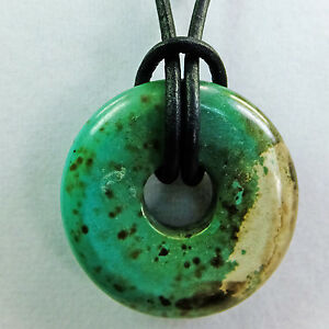 """Green White Chalk Turquoise 1 1/4"""" Polished Donut Leather Cord Necklace #17"""