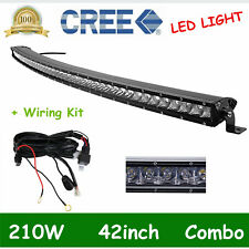 "Curved 42inch 210W Single Row CREE LED Light Bar Slim Spot Flood Fog 40""& Wiring"