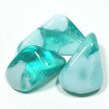 """Aqua Blue & White Obsidian Tumbled Polished Stones, 2 Piece Set, Avg Size 1.35"""""""