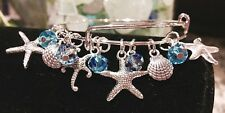 Star Fish & Sea shells/Ocean *11*charms- Silver charm Expandable Bangle Bracelet