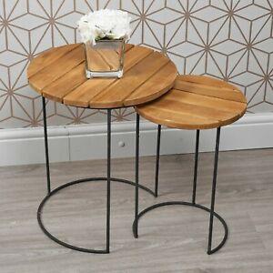 2 PCS Round Teak Wooden Side End Coffee Tables Stand Set Black Metal Frames Home