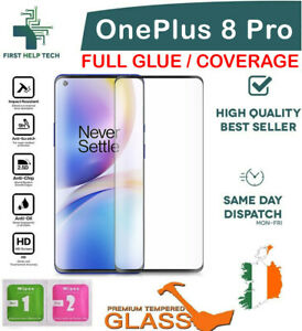 OnePlus 8 Pro Tempered Glass 9D Curved Screen Protector Full Coverage Glue New