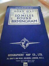 Vintage Road Map of 50 Miles Around Birmingham 1960's