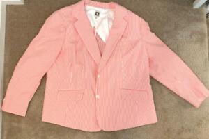 Anne Klein Women's Seersucker Striped 2 Button Pink Blazer Size 22W