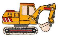 ad16 Bagger Baustelle Fahrzeug Aufnäher Applikation Patch Bügelbild 9,5 x 5,5 cm