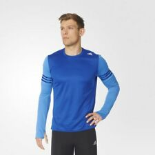 Adidas Response Long Sleeve Running Gym Top Mens Blue Size Uk Medium, Large New