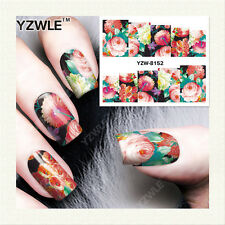Nail Art Water Decals Stickers Transfers PINK Summer Garden Flowers Roses (8152)