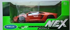 Welly 1:24 NEX Lamborghini Aventador Coupe Orange Die Cast Model
