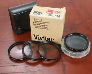 LOT OF FOUR 49MM FILTERS, POLARIZER, CLOSE UP SET +1, +2, AND +4/174757