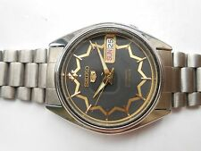 RARE SS MID SIZE JAPAN MADE SEIKO 5 BLACK STAR DIAL MENS AUTOMATIC WRISTWATCH