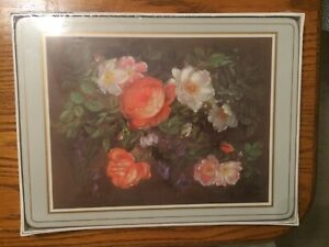 English Life Floral Placemats Set of 4 - New in sealed Box - Classical Rose Grey