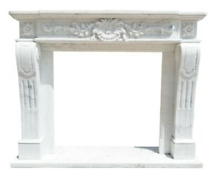 Hand Carved Marble Fireplace Mantel, French Design, White Marble