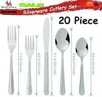 Stainless Steel Flatware Silverware Cutlery Set Knife Fork Spoon Dishwasher Safe
