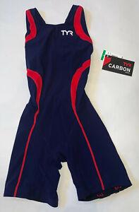 TYR Women's Medium Blue Red Triathlon Short John Aeroback USA Made CARBON New