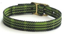 One Piece Nylon Ladies Watch Band Strap Black/Yellow Abstract  10mm NOS
