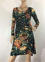 🌻 LEONA EDMISTON RUBY SIZE 1 (10 AUS) BLACK MULTI FLORAL PRINT DRESS