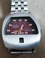 Nobellux Rare vintage spaceman burgundy steel mm 36 automatic Swiss tritium dial