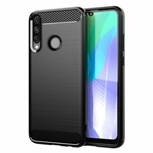 SDTEK Case for Huawei Y6p Carbon Fibre Silicone Cover Shockproof (Black)