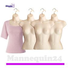 4 Pack Female Torso Mannequins Flesh Women Dress Body Forms