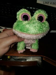 "Ty Beanie Boos Kiwi the Frog green pink solid eyes  6"" rare not used missing tag"