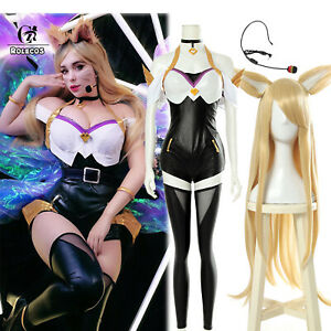LOL Game KDA Ahri Outfit Leather Bodysuit Cosplay Costumes