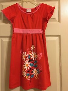 Hanna Andersson Red Floral Dress Girls Size 130 or 8