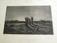 Maurice SAND (1823-1889) LITHO TROIS HOMMES PIERRE ROMANTISME CLAIR OBSCUR 1857
