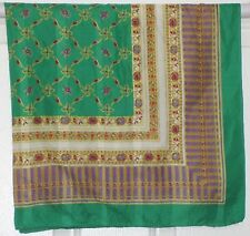"""TERRIART Green, Purple, Gold Gems, Stripes Dotted Swiss 30"""" Square Scarf-Vintage"""