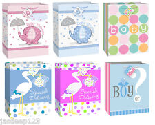 Large Baby Shower Gift Paper Bags Pink or Blue Boy Girl Designs Party Animal