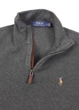 Polo Ralph Lauren Mens Estate Rib Heather Gray Zip Pullover Sweater Medium
