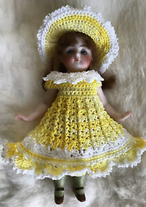 Crochet Dress for 6 - 7 Inch Mignonette, Kestner Or All Bisque Doll Yellows/wht