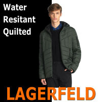 MEN'S KARL LAGERFELD PARIS QUILTED WATER RESISTANT HOODIE PUFFER JACKET GREEN