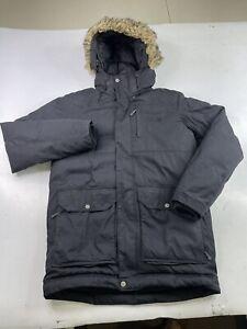 Mountain Hardwear Men's Down Jacket Parka Fur Hood Pockets Black Size Small