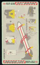 TWA trans world airlines B 727 - 231 airline SAFETY CARD memorabilia ee e338