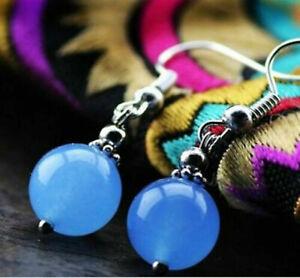 10mm Handmade Natural Blue Jade Round Hook Dangle Earrings