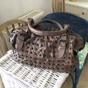 Thomas Wylde 100% Leather Dark Brown Studded Skull Tote / Shoulder Bag