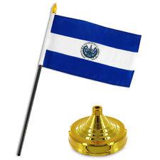 "El Salvador 4""x6"" Flag Desk Set Table Stick Gold Base"