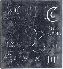 Große Monogramm Schablone DG  Jugendstil  Weißblech 16 x 18 cm Weissstickerei