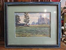 ancien tableau aquarelle signé g laneyrie daté 1917 paysage encadré barbizon