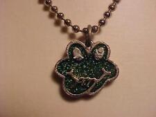 "Green Frog Pendant Necklace Enamel Confetti Frog Silver Ball Chain 18"""