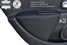 Black stitch 2X porte arrière carte accoudoir couverture de peau pour renault clio MK4 06-12