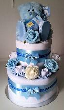 2 Tier Nappy Cake Baby Boy Blue New Mum Baby Shower Gift