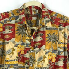 Tori Richard Hawaiian Shirt Tropical Fish Turtles Palm Camp Aloha Cotton Lawn Xl