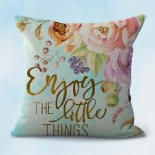 US Seller- enjoy the little things flower cushion cover throw pillow slip covers