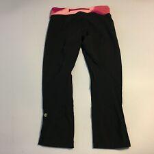 "Lululemon Womens Black Pink Run Pants Leggings Size 4 Inseam 23"""