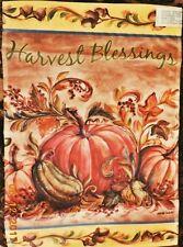 """Harvest Blessings Garden Flag Fall Leaves Kate McRostie 18"""" X 12.5"""" Pumpkins"""