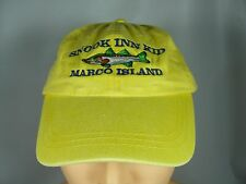 Snook Inn Kid Ball Cap Hat Adjust Leather Strap YELLOW Embroidered Fish ADAMS