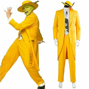 The Mask Jim Carrey Yellow Suit Cosplay Costume Men Uniform Outfits Halloween